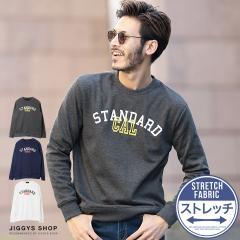 パーカー メンズ スウェット トレーナー クルーネック トップス trend_d JIGGYS / 裏ベロア「STANDARD CAL」プリントトレーナー