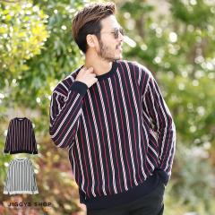 ニット メンズ セーター クルーネック トップス trend_d JIGGYS / ジャガードストライプクルーネックニット