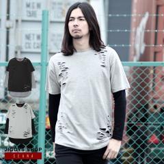 ロンT メンズ Tシャツ アンサンブル ヴィジュアル系 V系 SEANA JIGGYS / ダメージアンサンブルロングTシャツ