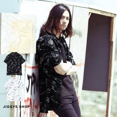 半袖シャツ メンズ カジュアルシャツ トップス ヴィジュアル系 V系 SEANA JIGGYS / フリーフォントオープンカラーシャツ