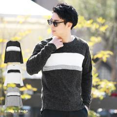 ニット メンズ セーター トップス trend_d JIGGYS / パネルクルーネックニットソー