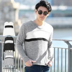 ニット メンズ セーター トップス trend_d JIGGYS / パネルVネックニットソー