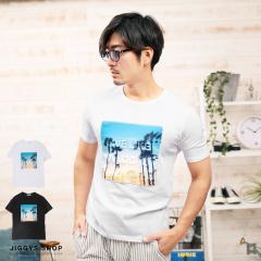 Tシャツ メンズ ジレ 半袖 トップス trend_d JIGGYS / エンボス加工フォトプリントTシャツ