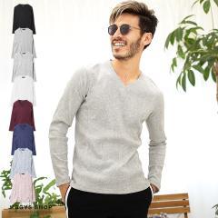 ロンT メンズ 長袖Tシャツ トップス trend_d JIGGYS / Vネックテレコ長袖Tシャツ