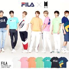 【さらに15%OFFクーポン】FILA フィラ BTS コラボTシャツ 夏新作 2021 メンズ カットソー 半袖Tシャツ クルーネック ブランドロゴ トッ
