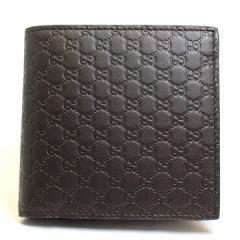 あす着 グッチ GUCCI メンズ 財布 二つ折り財布 マイクロGG グッチシマ レザー 本革 ダークブラウン アウトレット 150413-bmj1n-2044