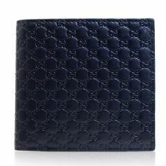 あす着 グッチ GUCCI メンズ 財布 二つ折り財布 マイクロGG グッチシマ レザー 本革 ネイビー アウトレット ブランド 150413-bnj1n-4009