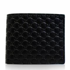あす着 グッチ GUCCI メンズ 二つ折り財布 マイクロ GG レザー 本革 ブラック グッチシマ アウトレット ブランド 544472-bmj1n-1000  新