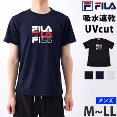 FILA (フィラ) メンズ Tシャツ 半袖 クルーネック 速乾 410313 ランニング ウェア スポーツウェア ヨガ ウェア 男性用 ロゴTシャツ 丸首