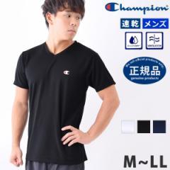 Tシャツ メンズ 半袖 Vネック Champion チャンピオン CM1HM302 ブランド ロゴ ワンポイント 吸汗速乾 Vネック ランニングウェア 体型カバ