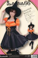 ハロウィン コスプレ 衣装 レディース 安い 魔女 ワンピース 帽子 グローブ 仮装 コスチューム 魔法使い オレンジウィッチ 大人 女性