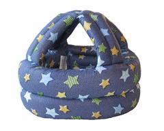 【管理A】ベビースポンジヘルメット 頭部の保護に安心 星 デニム風ネイビー