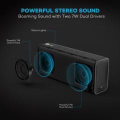 Bluetooth スピーカー TaoTronics Pulse X 14W ワイヤレス ポータブル ステレオ スピーカー 高品質バス マイクロフォン内蔵A2DP プロファ