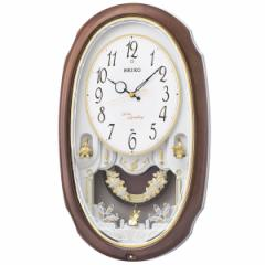 SEIKO セイコー 掛け時計 電波 アナログ 16曲メロディ 飾り振り子 茶マーブル模様 AM260A【お取り寄せ】