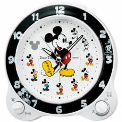 SEIKO セイコー 目覚まし時計 ミッキーマウス アナログ 切替式アラーム ミッキー&フレンズ Disney Time(ディズニータイム) 白パール FD46