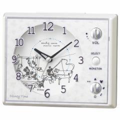 SEIKO セイコー 目覚まし時計 ミッキーマウス ミニーマウス アナログ マルチサウンドアラーム Disney Time(ディズニータイム) 白パール F