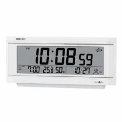 SEIKO セイコー 置き時計 衛星電波 デジタル カレンダー 温度 湿度表示 アラーム ライトつき SPACE LINK(スペースリンク) 白パール GP501