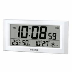 SEIKO セイコー 掛け時計 オフィス 置き時計 衛星電波 スペースリンク デジタル カレンダー 温度 湿度表示 白パール GP502W【お取り寄せ