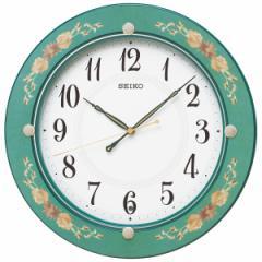 SEIKO セイコー 掛け時計 スタンダード 電波 アナログ 木枠 緑花柄模様 KX220M【お取り寄せ】