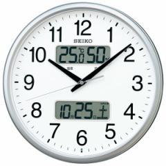 SEIKO セイコー 掛け時計 液晶表示付 オフィス 壁掛け 電波 KX235S カレンダー 温度計 湿度計 グリーン購入法適合 スイープ おしゃれ【お