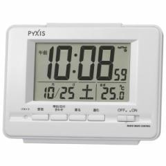 SEIKO セイコー 目覚まし時計 電波 デジタル カレンダー 温度表示 PYXIS (ピクシス) 白パール NR535H【お取り寄せ】
