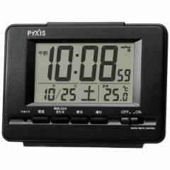SEIKO セイコー 目覚まし時計 電波 デジタル カレンダー 温度表示 PYXIS (ピクシス) 黒メタリック NR535K【お取り寄せ】