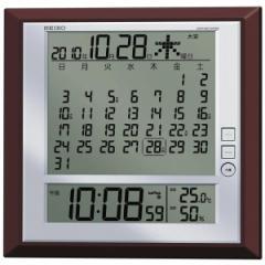 SEIKO セイコー 掛け時計 オフィス 置き時計 月めくりカレンダー 電波 デジタル 六曜 温度 湿度表示 茶メタリック SQ421B【お取り寄せ】