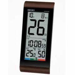 SEIKO セイコー 掛け時計 液晶表示付 置き時計 日めくりカレンダー 電波 デジタル 温度 湿度表示 茶メタリック SQ431B【お取り寄せ】