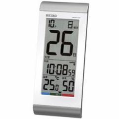 SEIKO セイコー 掛け時計 液晶表示付 置き時計 日めくりカレンダー 電波 デジタル 温度 湿度表示 銀色メタリック SQ431S【お取り寄せ】
