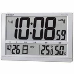 SEIKO セイコー 掛け時計 液晶表示付 オフィス 置き時計 電波 デジタル カレンダー 六曜 温度 湿度表示 大型 銀色メタリック SQ433S【お