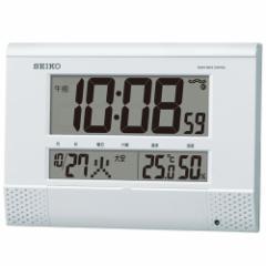 SEIKO セイコー 掛け時計 液晶表示付 オフィス 置き時計 電波 デジタル プログラム機能 カレンダー 六曜 温度 湿度表示 コンパクト 白パ
