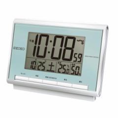 SEIKO セイコー 目覚まし時計 電波 デジタル カレンダー 温度 湿度表示 薄青パール SQ698L【お取り寄せ】