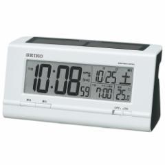 SEIKO セイコー 目覚まし時計 ハイブリッドソーラー 電波 デジタル カレンダー 温度表示 白パール SQ766W【お取り寄せ】