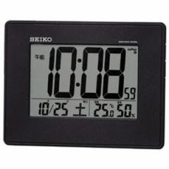 SEIKO セイコー 目覚まし時計 電波 デジタル 掛け時計 液晶表示付 置き時計 カレンダー 温度 湿度表示 大型画面 黒メタリック SQ770K【お