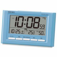 SEIKO セイコー 目覚まし時計 快適環境NAVI 電波 デジタル カレンダー 温度 湿度表示 薄青パール SQ777L【お取り寄せ】