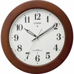 父の日ギフト プレゼント 丸型時計 シチズン 夜間自動点灯ライト付木枠電波掛時計 掛時計 電波時計