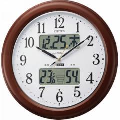 丸型時計シチズン 温湿度計付電波掛時計(自動点灯ライト付)/4FY620-006