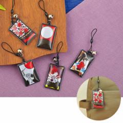 キーホルダー 花札 反射 ファッション小物花札柄の鈴付リフレクター