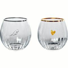 洋ガラス食器 ベネディーレ ペアフリーグラス(羽根とハート)/G098-T264