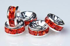 6mm 【平型 銀ロンデル(赤)】(100個入り)ロンデル[KZ35-6]E11