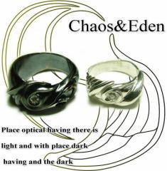 ペアリング 2本セット シンプル お揃い 刻印無料 シルバー 偶数号 30号 FISS 天使と悪魔の羽をモチーフに「chaos&Eden」