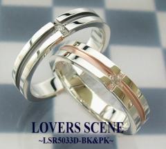 LOVERS SCENEクロスラインダイアペアリングLSR5033D-BK&PK