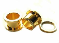 メール便 送料無料 ボディピアス フレッシュトンネル ゴールド 9/16inch(14mm) Anodized Gold ボディーピアス ┃