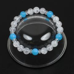 【メール便対応】パワーストーンブレスレット 爆裂水晶 8mm玉*アクアストーン5ポイント【クラッククォーツ 数珠 天然石】 ┃