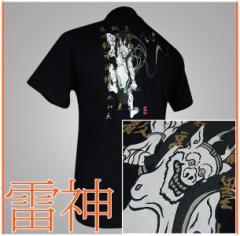 メール便 和柄Tシャツ半袖 メンズレディース 日本製 丸首 クルーネック 和風風情 大人おしゃれカジュアル 倭人雷神