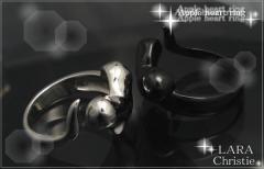 ペアリング 2本セット シンプル お揃い ブランド LARA Christie シルバー アップルハートペアリングr-5065-p