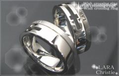 ペアリング 2本セット シンプル お揃い ブランド LARA Christie シルバー ウィッシュクロスペアリングr3889-p