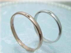 ペアリング ホワイトゴールド K10 送料無料 結婚 カップル LOVERS&RING Firstlove  LSR0601WG-DPK