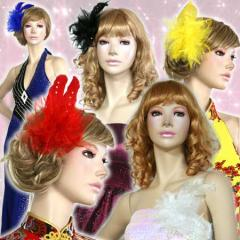 豪華 リアル 羽 髪飾り ワンピ 舞踏会 コサージュ 成人式 人気 即納 激安 可愛い 華やか 結婚式 二次会 パーティ 着物 イベント