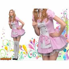 ハロウィン コスプレ 衣装 安い レディース 大人 海外 メイド服 かわいい 女性 仮装 コスチューム NYW ピンクメイド